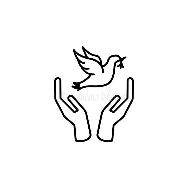 χέρι και περιστέρι με το εικονίδιο κλάδων Στοιχείο του εικονιδίου ειρήνης για την κινητούς έννοια και τον Ιστό apps Λεπτά χέρι κα διανυσματική απεικόνιση