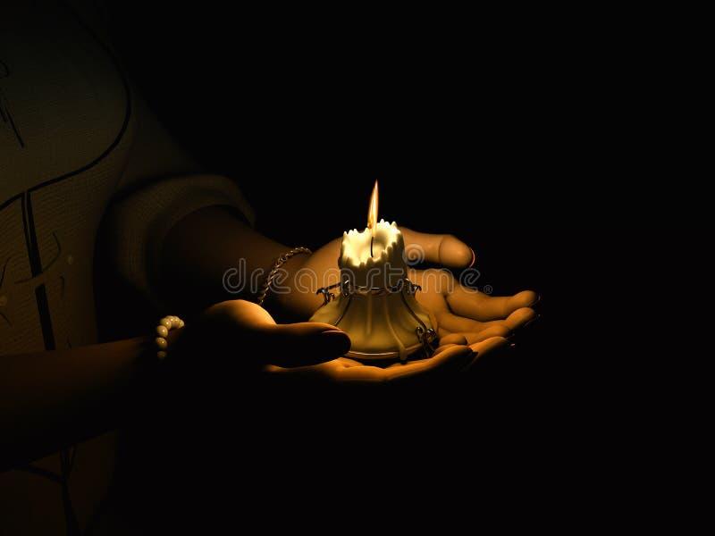 χέρι κεριών ελεύθερη απεικόνιση δικαιώματος