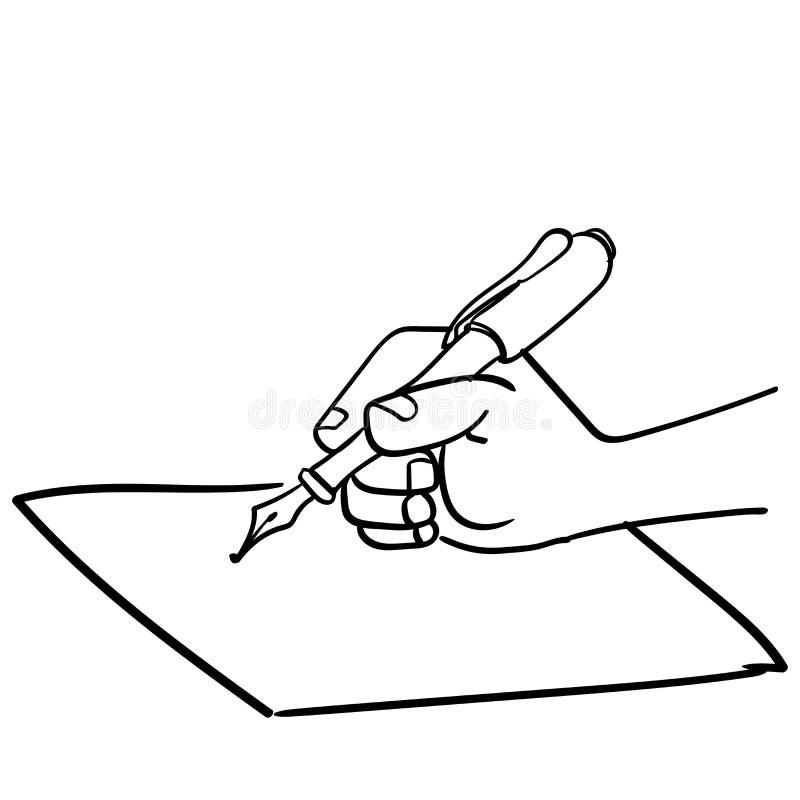 Χέρι κινούμενων σχεδίων που γράφει με το μάνδρα-διάνυσμα που σύρεται διανυσματική απεικόνιση