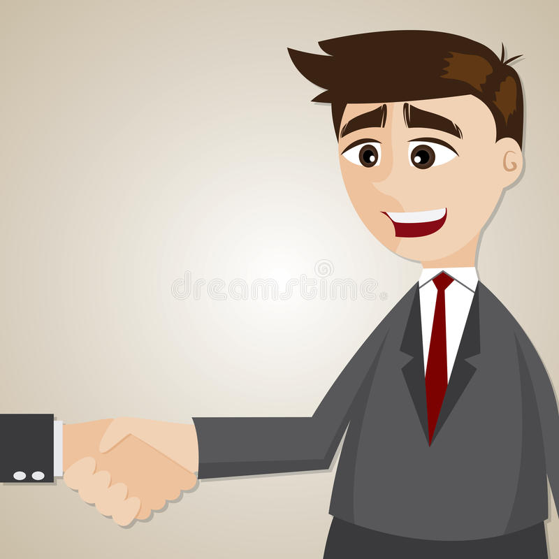 Χέρι κουνημάτων επιχειρηματιών κινούμενων σχεδίων με ένα άλλο άτομο απεικόνιση αποθεμάτων