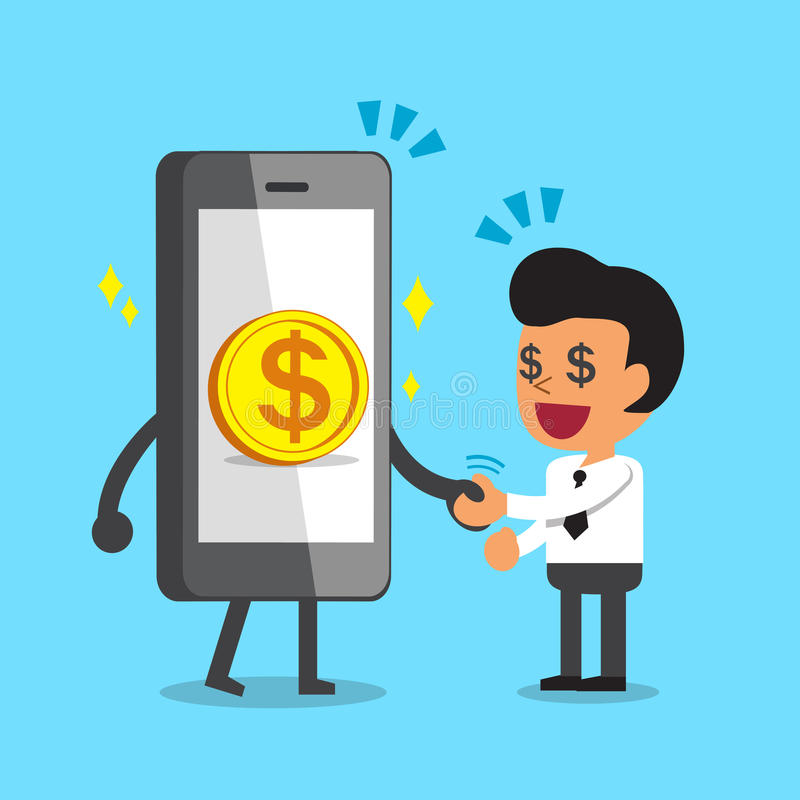 Χέρι κουνημάτων smartphone κινούμενων σχεδίων με τον επιχειρηματία ελεύθερη απεικόνιση δικαιώματος