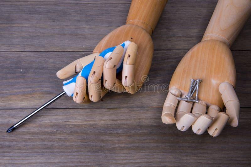 Χέρι με ένα κατσαβίδι και μερικές βίδες στοκ φωτογραφία με δικαίωμα ελεύθερης χρήσης
