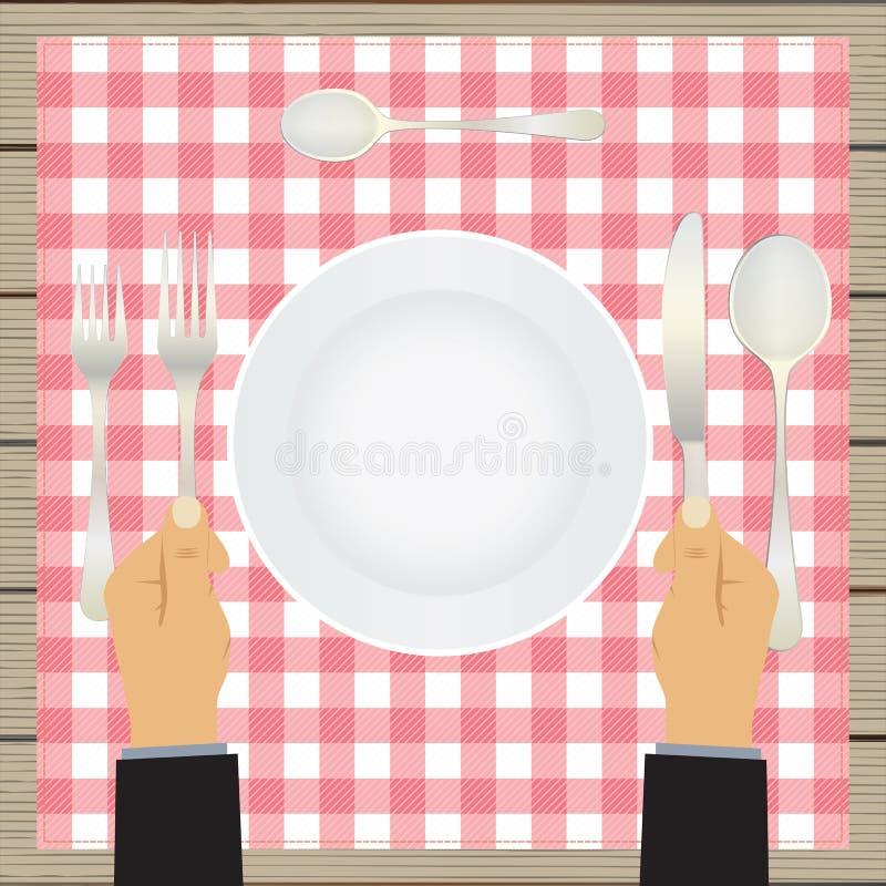Χέρι με ένα μαχαίρι και ένα δίκρανο tableware ελεύθερη απεικόνιση δικαιώματος