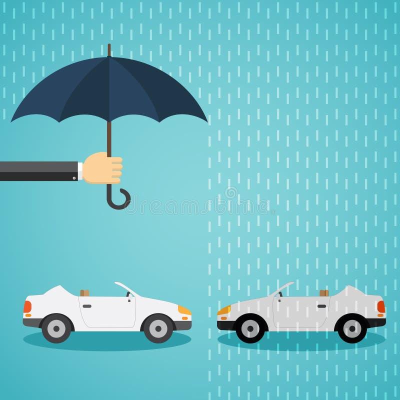 Χέρι με μια ομπρέλα που προστατεύει το αυτοκίνητο απεικόνιση αποθεμάτων