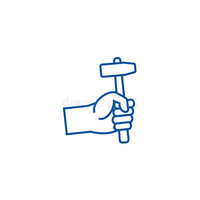 Χέρι με την έννοια εικονιδίων γραμμών σφυριών Χέρι με το επίπεδο διανυσματικό σύμβολο σφυριών, σημάδι, απεικόνιση περιλήψεων διανυσματική απεικόνιση