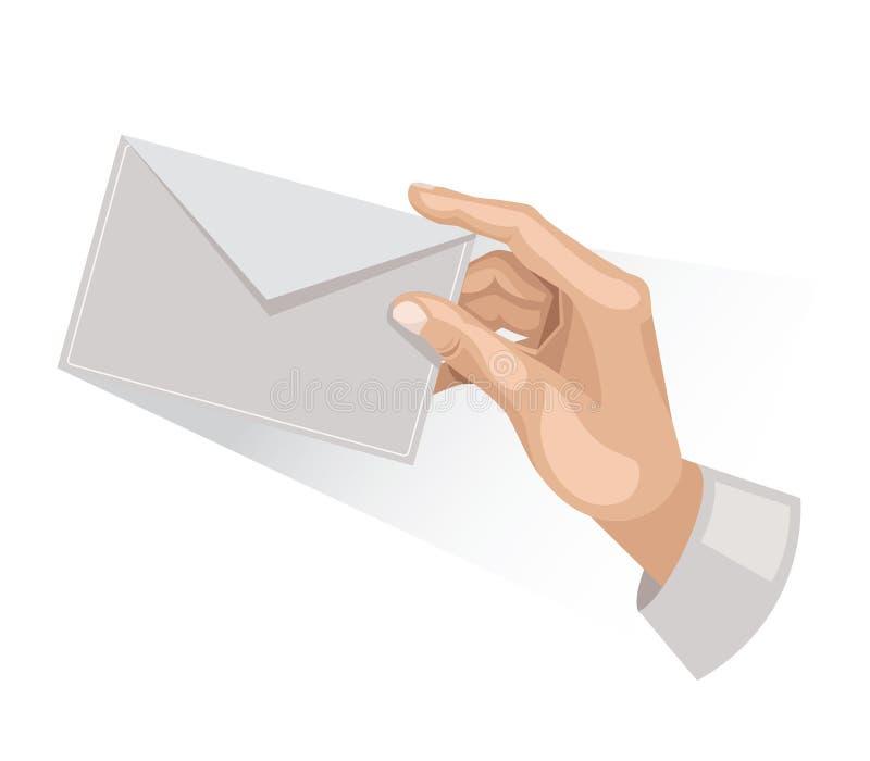 Χέρι με την επιστολή διανυσματική απεικόνιση