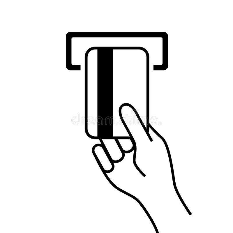 Χέρι με την τραπεζική κάρτα διανυσματική απεικόνιση