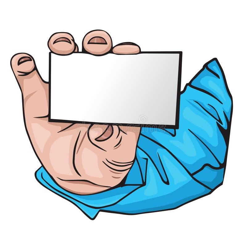 Χέρι με τη επαγγελματική κάρτα. ύφος κινούμενων σχεδίων απεικόνιση αποθεμάτων