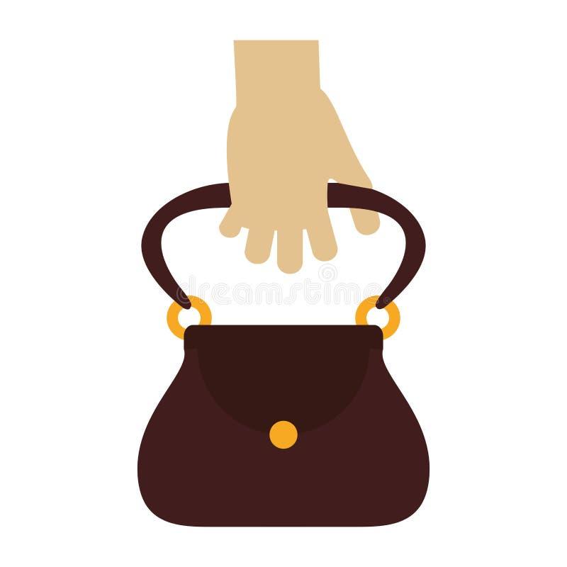 Χέρι με τη θηλυκή τσάντα ελεύθερη απεικόνιση δικαιώματος