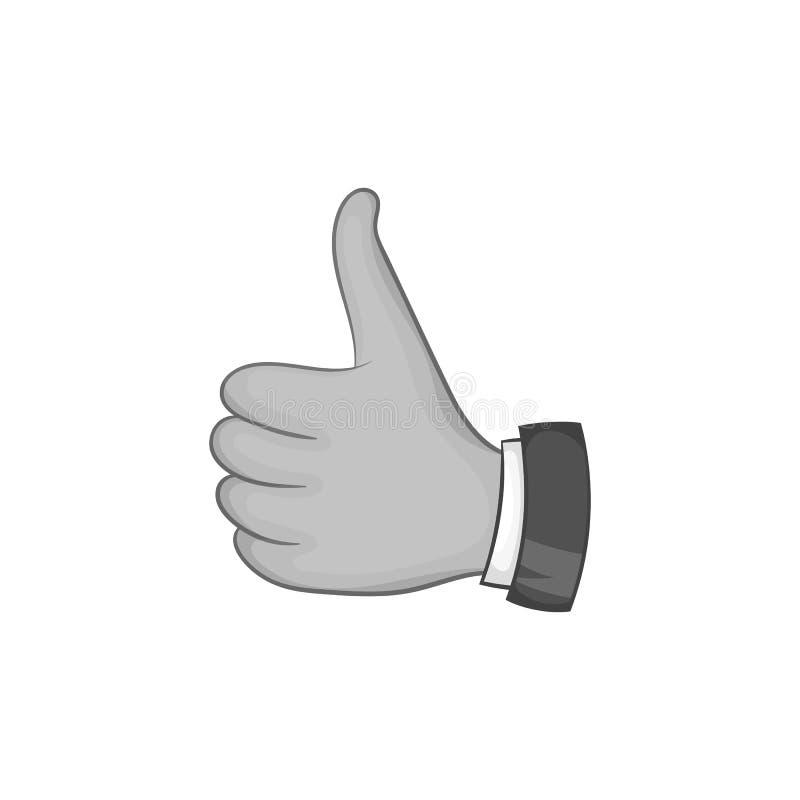 Χέρι με τον αντίχειρα επάνω στο εικονίδιο, μαύρο μονοχρωματικό ύφος ελεύθερη απεικόνιση δικαιώματος