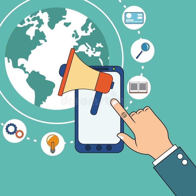 Χέρι με τον ψηφιακό εμπορικό ομιλητή smarphone ελεύθερη απεικόνιση δικαιώματος