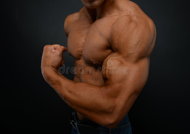Χέρι με τους δικέφαλους μυς στοκ φωτογραφία με δικαίωμα ελεύθερης χρήσης