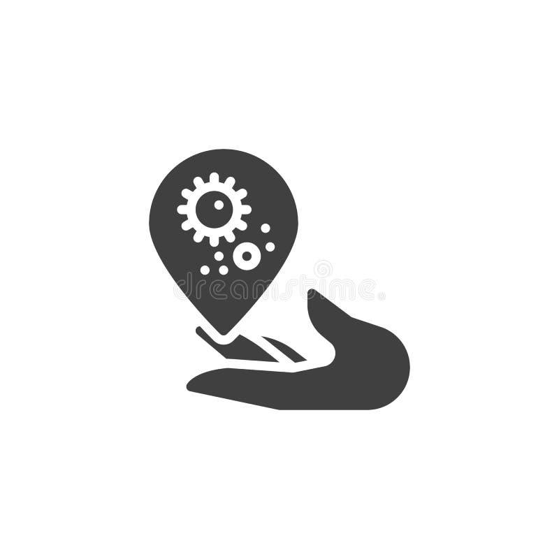 Χέρι με το βακτηριακό διανυσματικό εικονίδιο πτώσης διανυσματική απεικόνιση