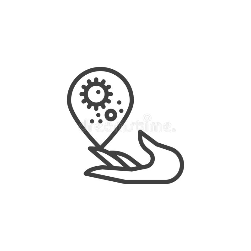Χέρι με το βακτηριακό εικονίδιο γραμμών πτώσης διανυσματική απεικόνιση