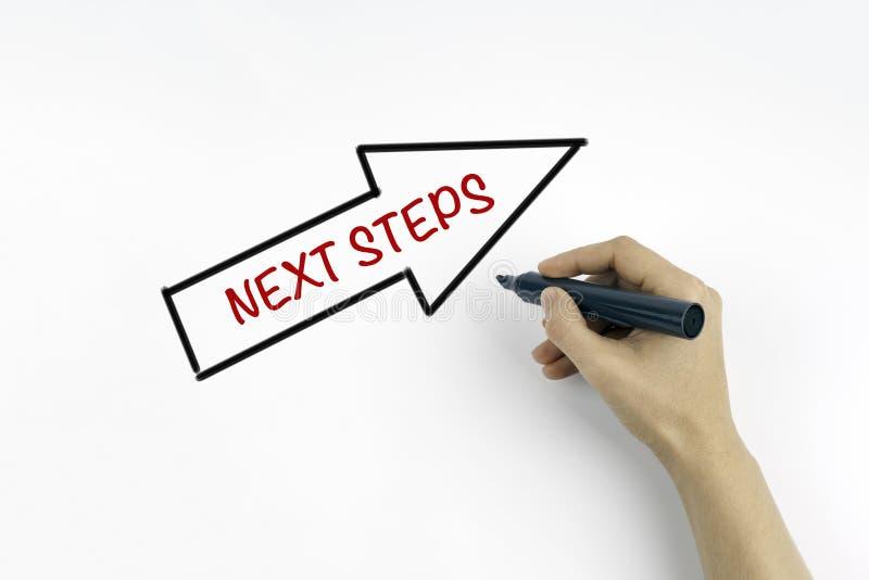 Χέρι με το γράψιμο δεικτών - επόμενα βήματα στοκ φωτογραφία με δικαίωμα ελεύθερης χρήσης