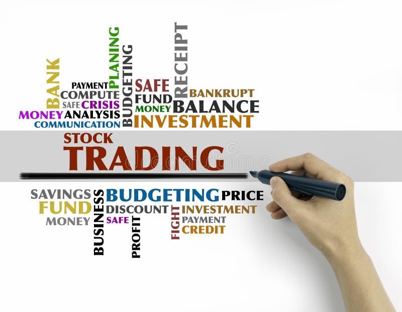 Χέρι με το γράψιμο δεικτών - σύννεφο λέξης εμπορικών συναλλαγών αποθεμάτων, επιχείρηση ομο στοκ φωτογραφία με δικαίωμα ελεύθερης χρήσης