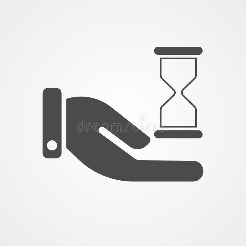 Χέρι με το διανυσματικό σύμβολο σημαδιών εικονιδίων κλεψυδρών διανυσματική απεικόνιση