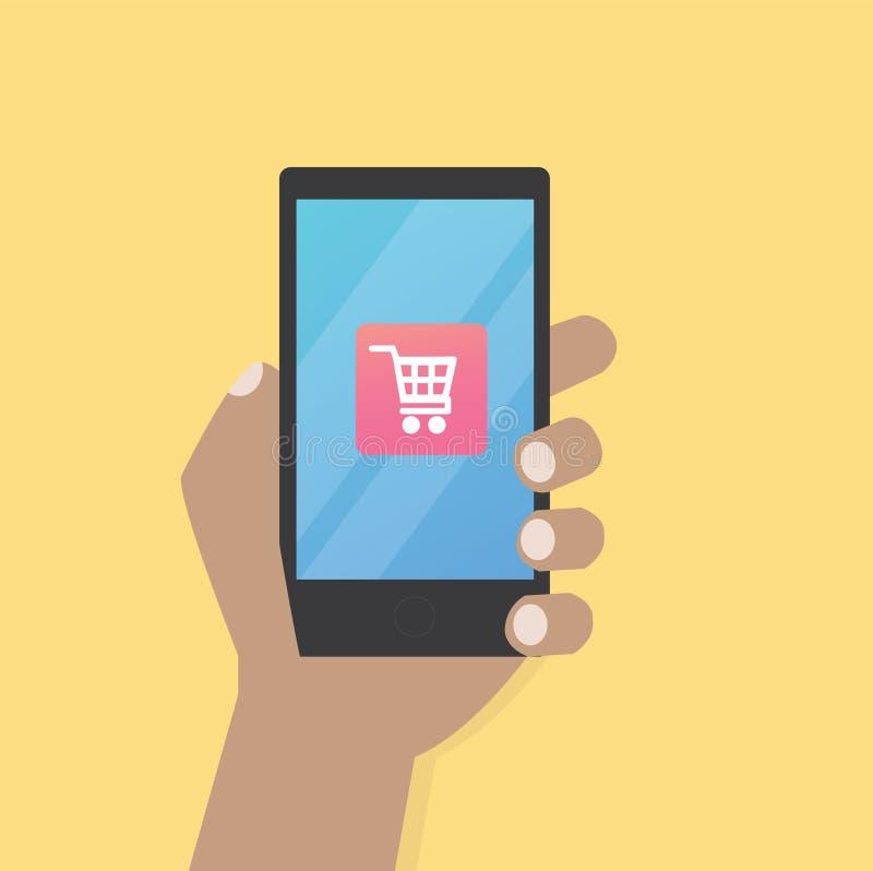 Χέρι με το εικονίδιο κάρρων στο κινητό τηλέφωνο ελεύθερη απεικόνιση δικαιώματος