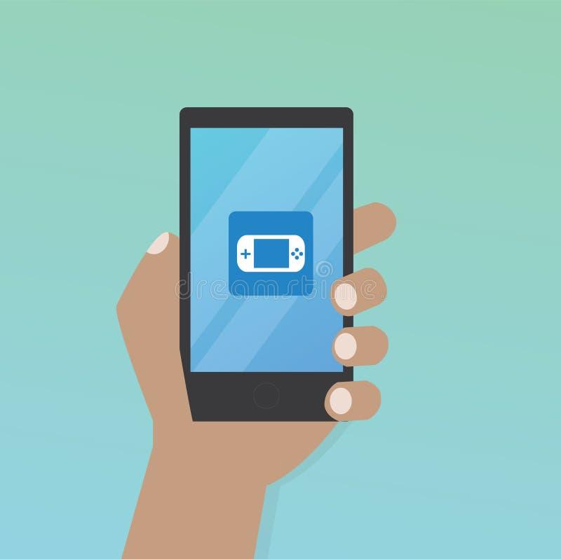 Χέρι με το εικονίδιο παιχνιδιών στο κινητό τηλέφωνο απεικόνιση αποθεμάτων