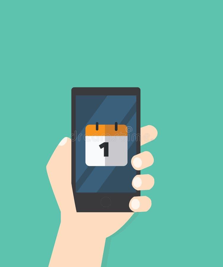 Χέρι με το ημερολογιακό εικονίδιο στο κινητό τηλέφωνο ελεύθερη απεικόνιση δικαιώματος