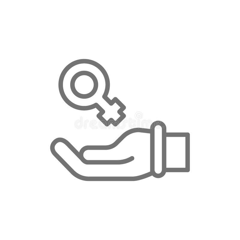 Χέρι με το θηλυκό σύμβολο, υποστήριξη γυναικών, εικονίδιο γραμμών φεμινισμού διανυσματική απεικόνιση