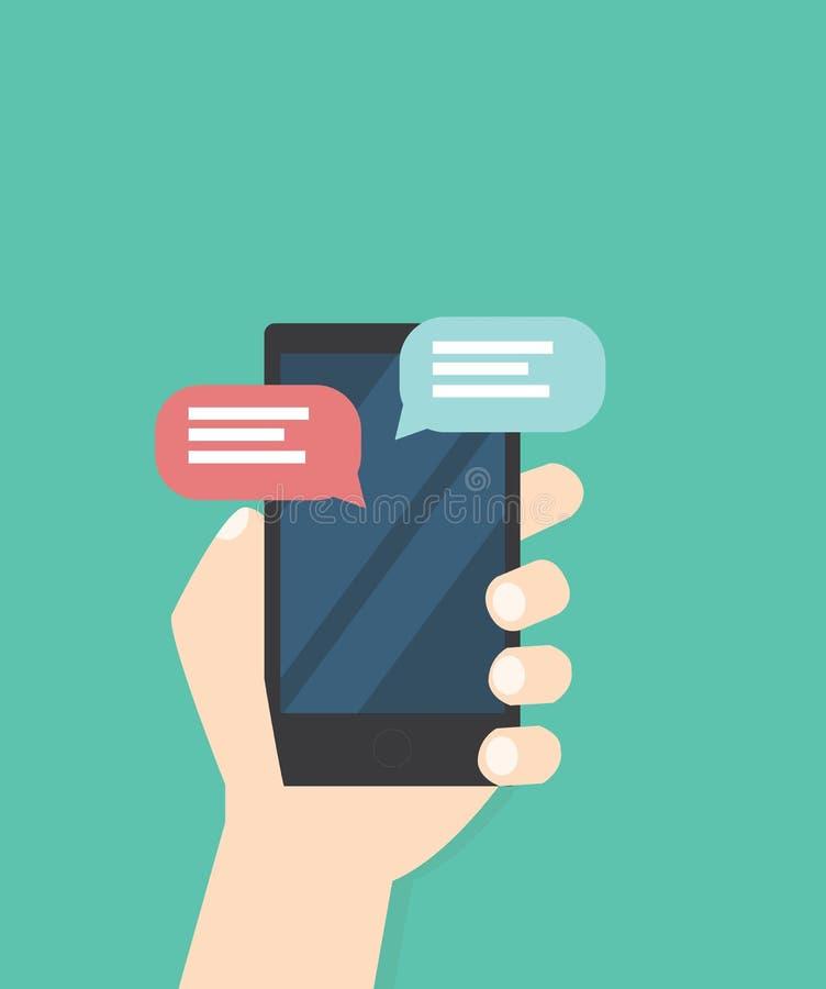 Χέρι με το διάνυσμα μηνυμάτων τηλεφωνικής συνομιλίας διανυσματική απεικόνιση
