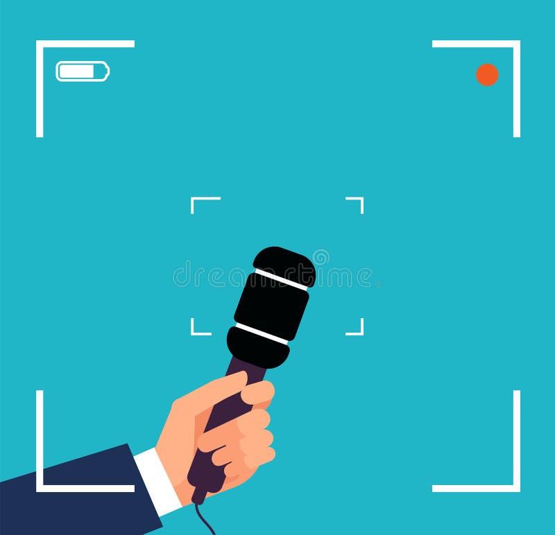 Χέρι με το μικρόφωνο Συνέντευξη TV εστίασης, ζωντανή διανυσματική έννοια δελτίου ειδήσεων με το σκόπευτρο και mic απεικόνιση αποθεμάτων