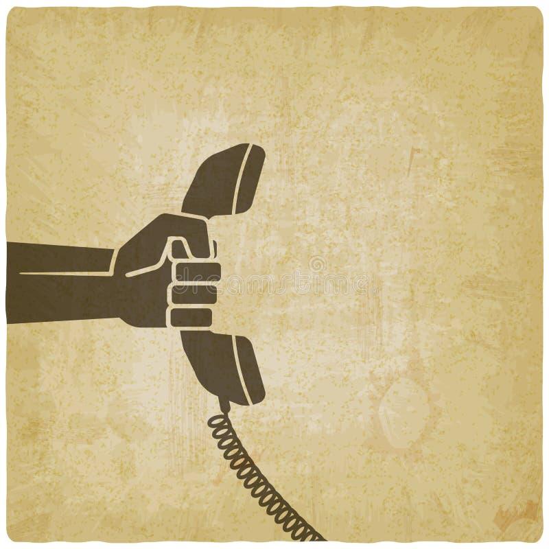 Χέρι με το τηλεφωνικό μικροτηλέφωνο απεικόνιση αποθεμάτων
