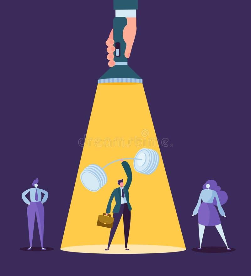 Χέρι με το φακό που δείχνει στο χαρακτήρα επιχειρηματιών με Barbell Στρατολόγηση, έννοια ηγεσίας, ανθρώπινα δυναμικά διανυσματική απεικόνιση