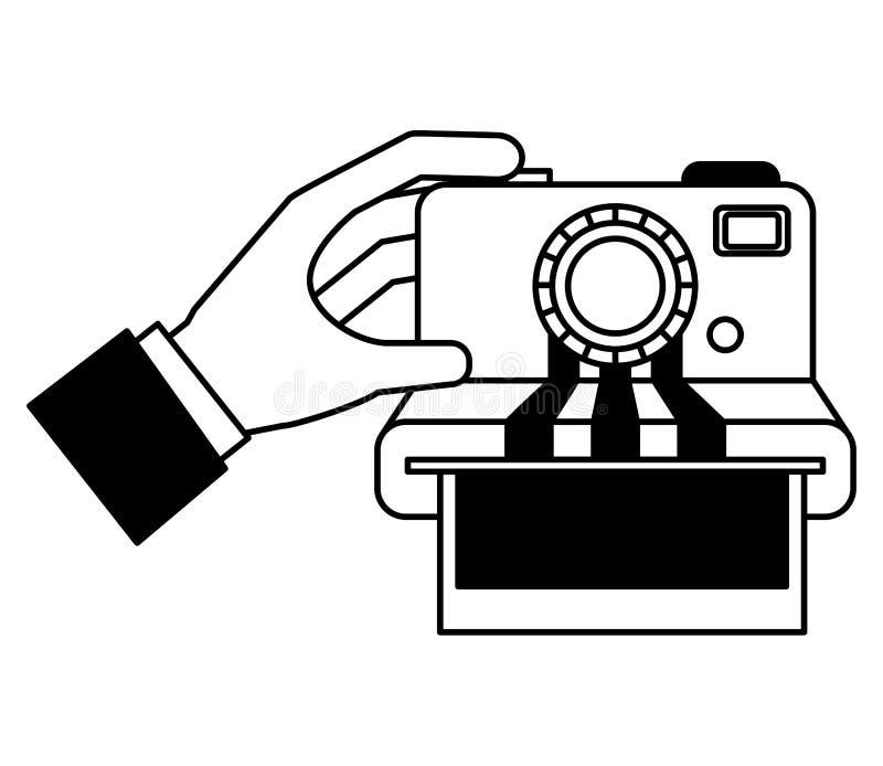 Χέρι με το φωτογραφικό απομονωμένο στιγμή εικονίδιο καμερών απεικόνιση αποθεμάτων