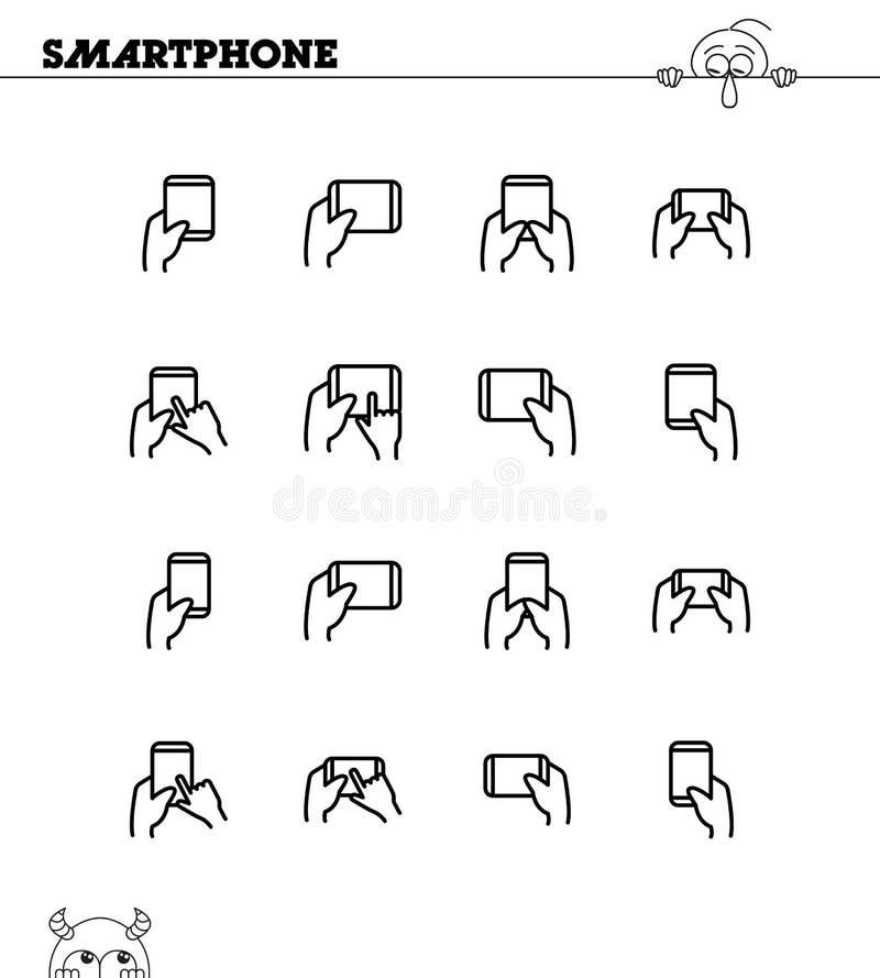 Χέρι με το smarphone, σύνολο εικονιδίων ταμπλετών απεικόνιση αποθεμάτων