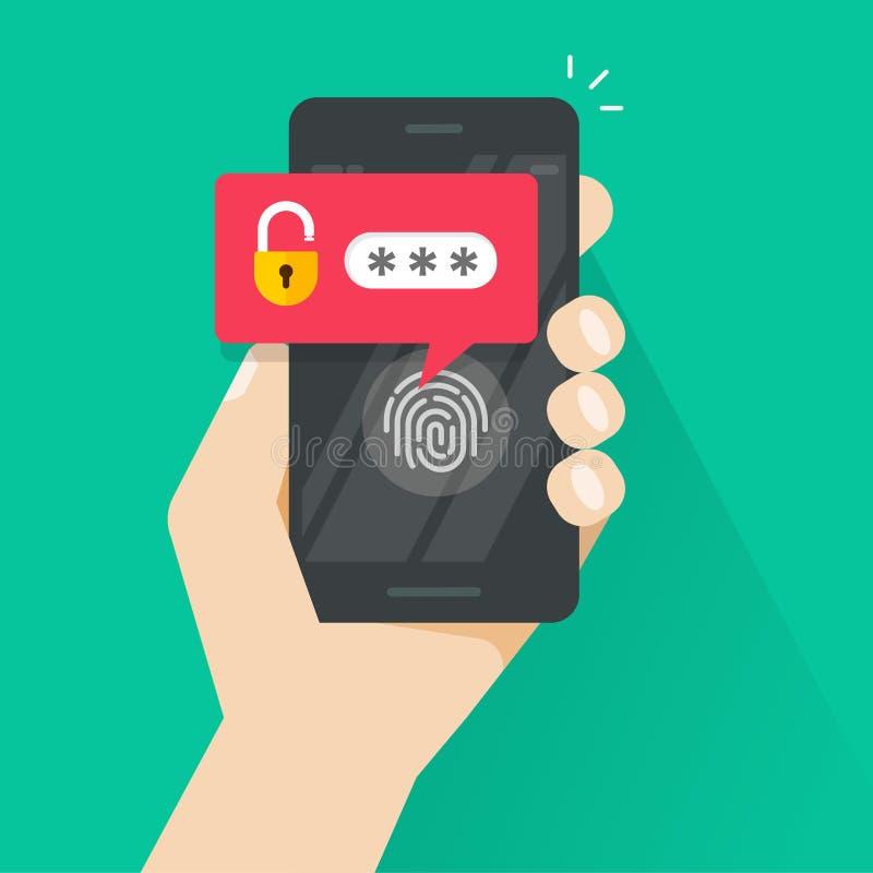 Χέρι με το smartphone που ξεκλειδώνεται με το κουμπί δακτυλικών αποτυπωμάτων και τη διανυσματική, κινητή τηλεφωνική ασφάλεια ανακ διανυσματική απεικόνιση