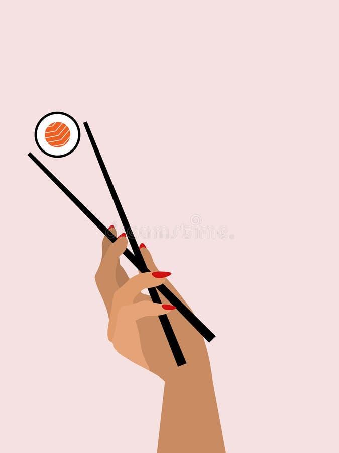 Χέρι με chopsticks απεικόνιση αποθεμάτων