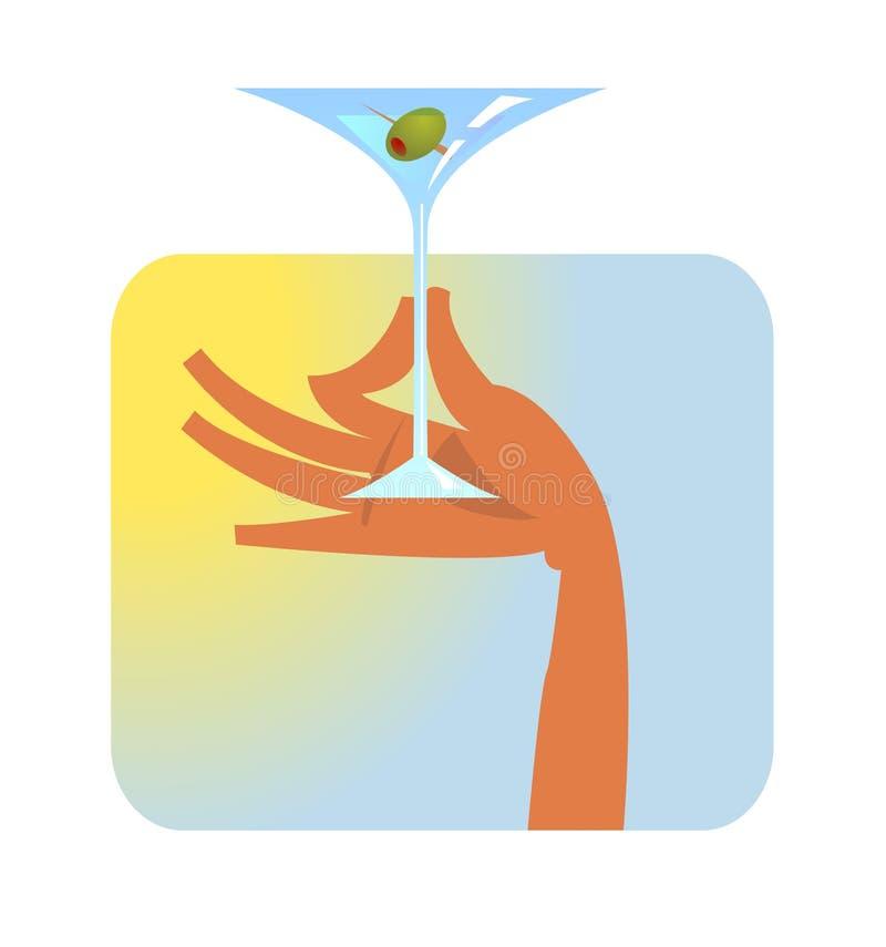 Χέρι με martini το γυαλί ελεύθερη απεικόνιση δικαιώματος