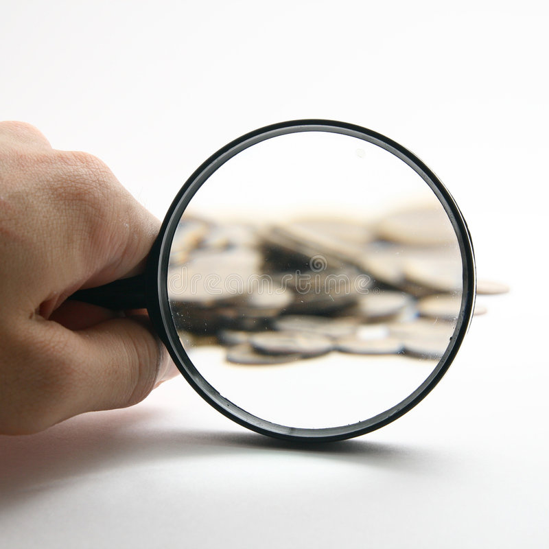χέρι πιό magnifier στοκ εικόνες