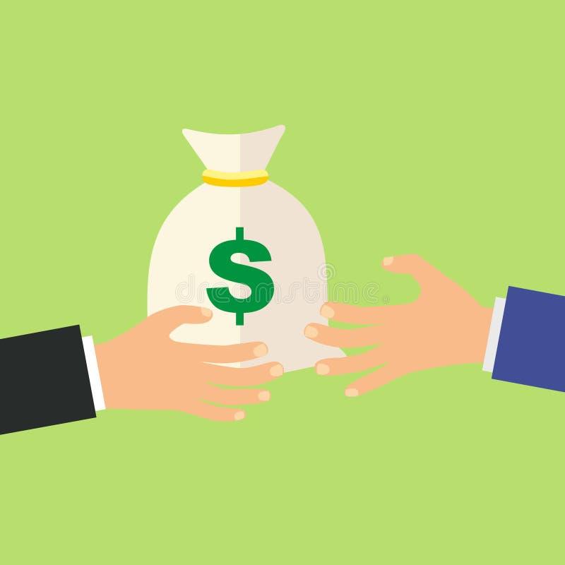 Χέρι που δίνει την τσάντα χρημάτων σε ένα άλλο χέρι, πληρωμή, πίστωση, δάνειο, απεικόνιση αφισών κατάθεσης στο πράσινο υπόβαθρο,  διανυσματική απεικόνιση