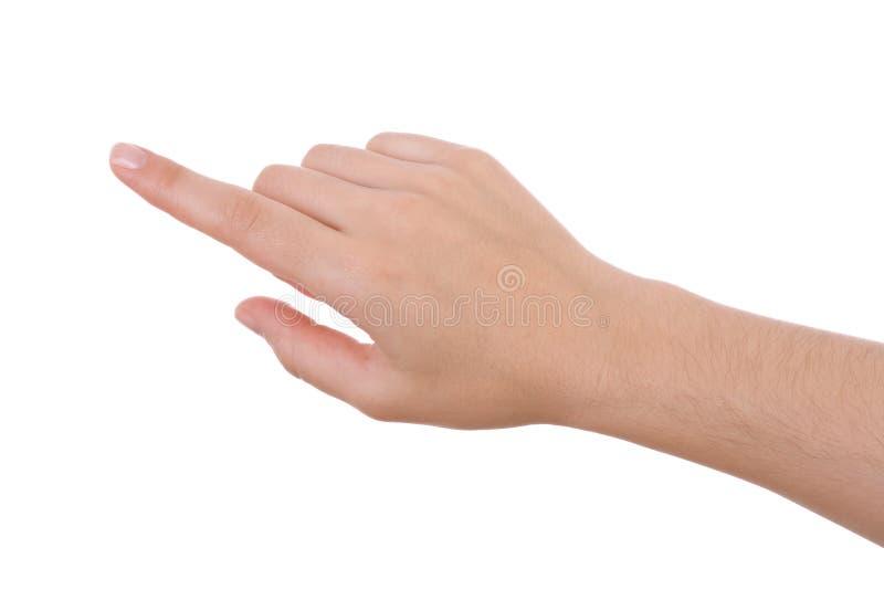 χέρι που απομονώνεται υπόδειξη του λευκού στοκ εικόνα με δικαίωμα ελεύθερης χρήσης