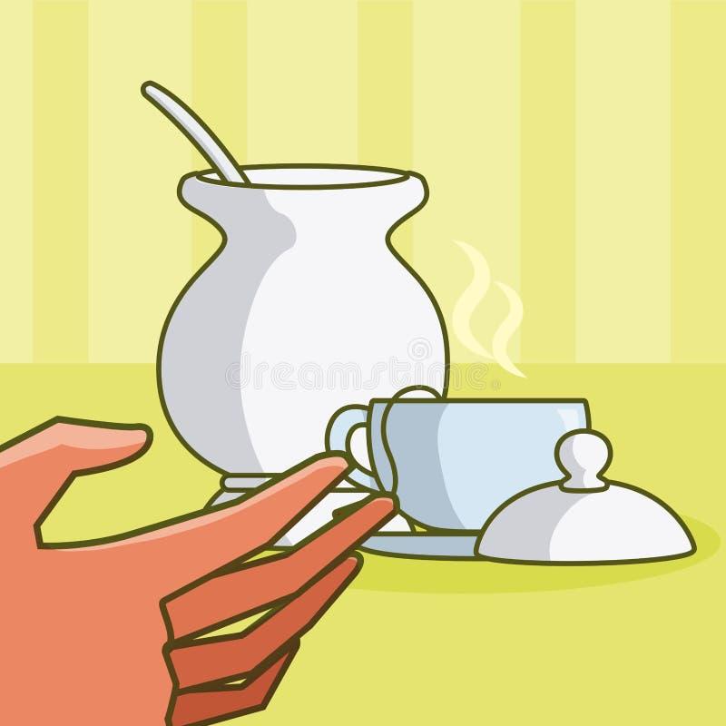 Χέρι που αρπάζει ένα τσάι με τη ζάχαρη ελεύθερη απεικόνιση δικαιώματος