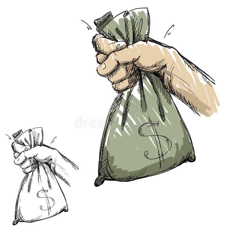 Χέρι που αρπάζει μια τσάντα με τα χρήματα διανυσματική απεικόνιση