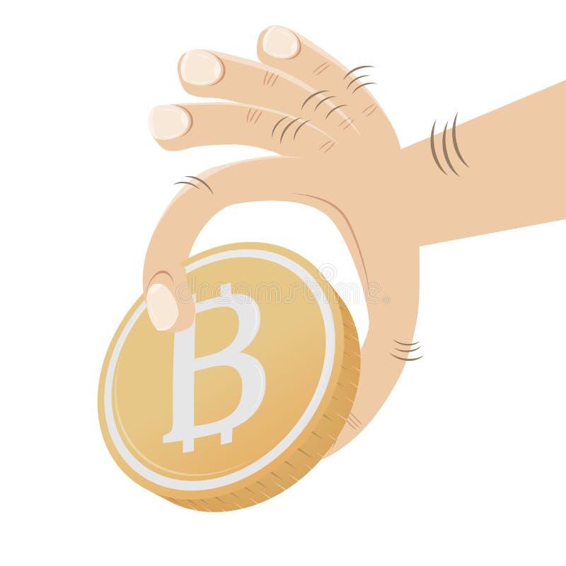 Χέρι που αρπάζει bitcoin διανυσματική απεικόνιση