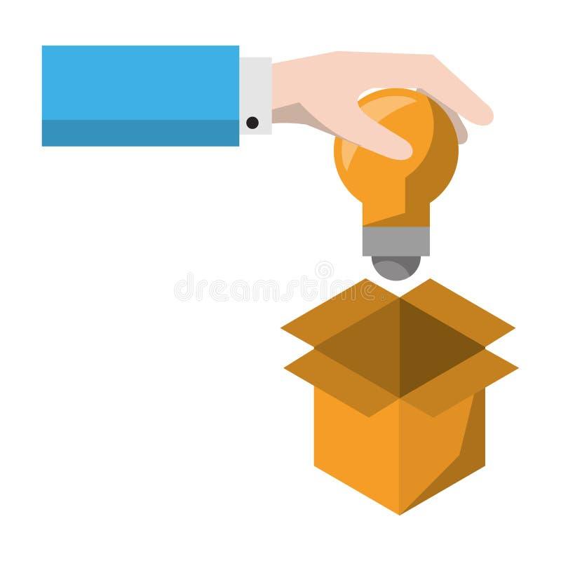 Χέρι που βάζει τη λάμπα φωτός στο κιβώτιο απεικόνιση αποθεμάτων