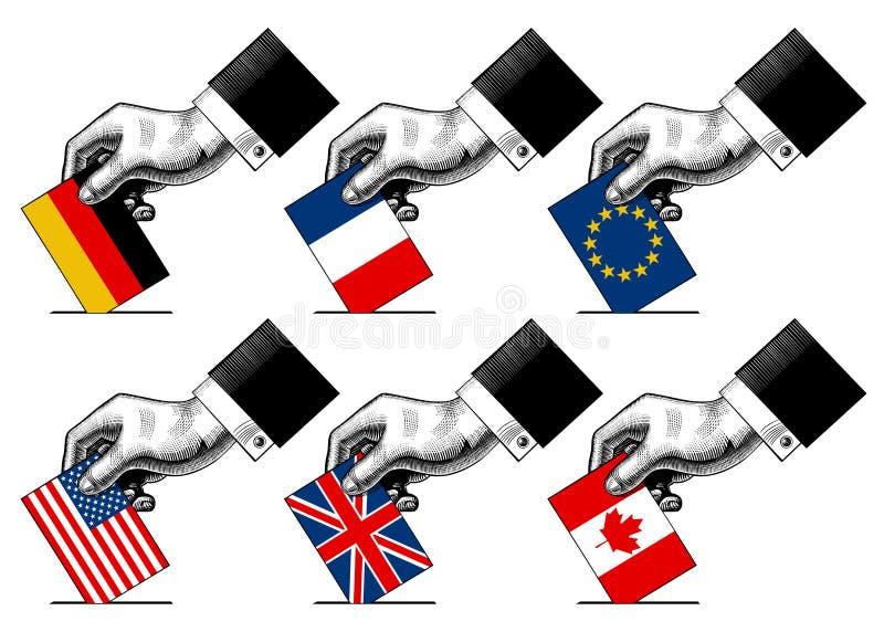 Χέρι που βάζει το έγγραφο ψηφοφορίας με τις σημαίες των ΗΠΑ, Καναδάς, ΕΕ, Γερμανία απεικόνιση αποθεμάτων