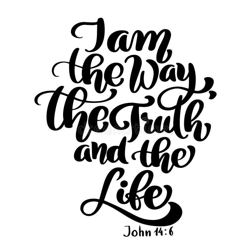 Χέρι που γράφει είμαι ο τρόπος, η αλήθεια και η ζωή, John 14 6 Βιβλικό υπόβαθρο νέα διαθήκη Χριστιανικός στίχος, διάνυσμα απεικόνιση αποθεμάτων