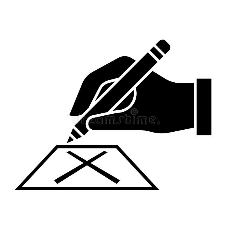 Χέρι που γράφει στο σταυρό ψηφοφορίας στο διανυσματικό σχέδιο σημαδιών εικονιδίων καρτών ελεύθερη απεικόνιση δικαιώματος
