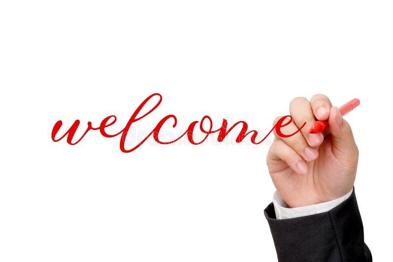 Χέρι που γράφει την ευπρόσδεκτη λέξη στο άσπρο υπόβαθρο ελεύθερη απεικόνιση δικαιώματος