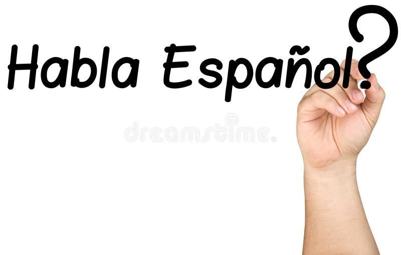 Χέρι που γράφει Habla Espanol σαφές γυαλί Whiteboard στοκ εικόνες