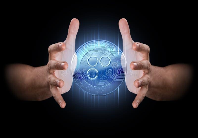 Χέρι που δημιουργεί Cryptocurrency ελεύθερη απεικόνιση δικαιώματος