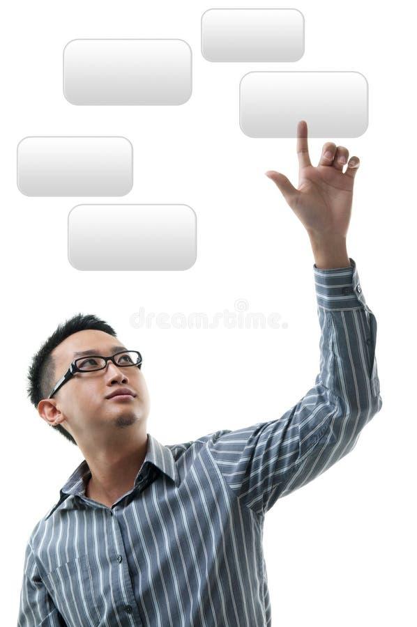 Χέρι που δείχνει στην οπτική οθόνη στοκ εικόνα με δικαίωμα ελεύθερης χρήσης