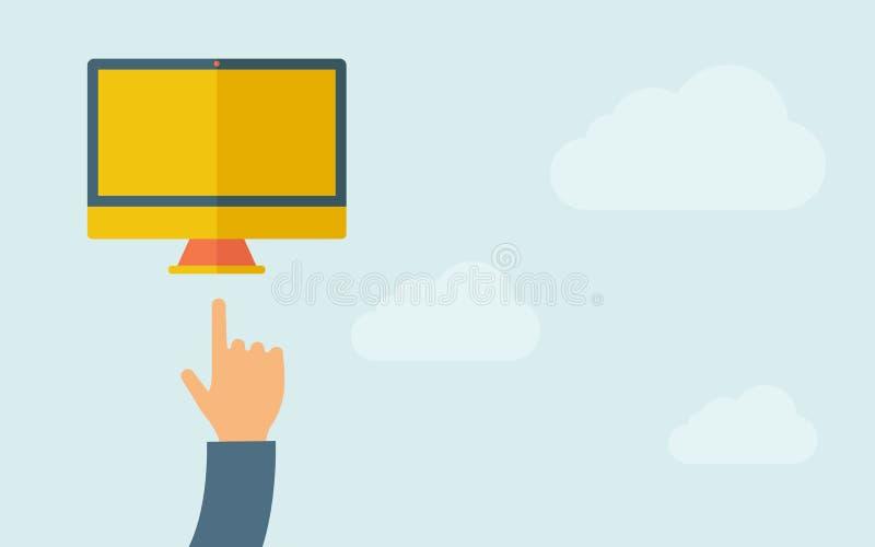Χέρι που δείχνει στο όργανο ελέγχου με την κενή οθόνη διανυσματική απεικόνιση