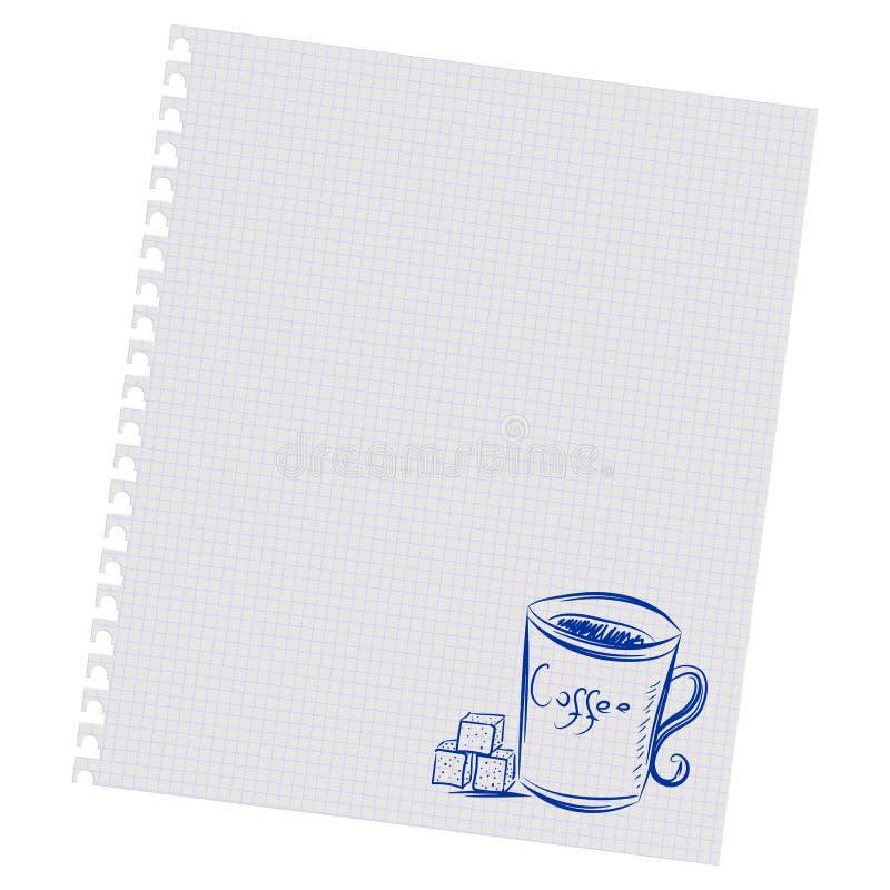 Χέρι που επισύρει την προσοχή ένα φλιτζάνι του καφέ και μια ζάχαρη σε ένα φύλλο στο κιβώτιο ελεύθερη απεικόνιση δικαιώματος
